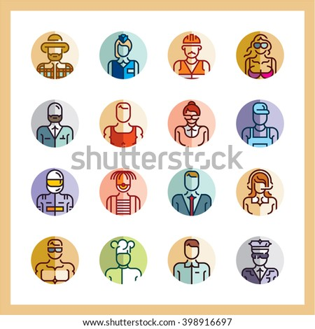 professions icons flat style icon set, avatars, people flat icons, circle icons, occupation, business people, workers - stock vector