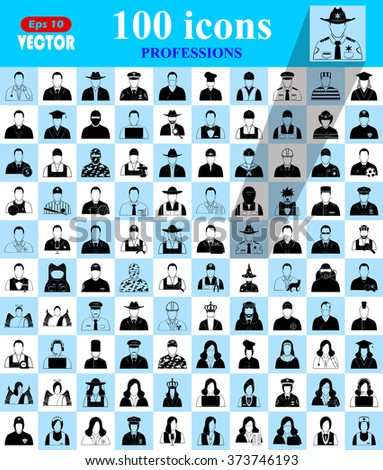 Professions icons, profile icon set, Characters of person icon - stock vector