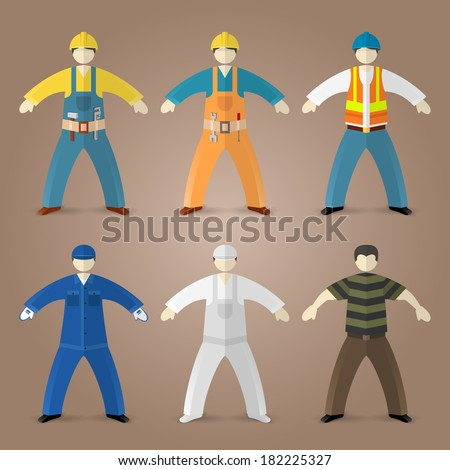 Professions set of builders, workers and sandman guy - stock vector