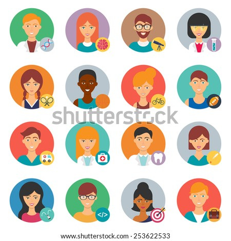 Professions, vector avatars set - stock vector