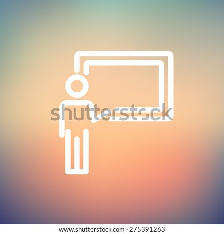 Professor in front of a blackboard icon thin line for web and mobile, modern minimalistic flat design. Vector white icon on gradient mesh background. - stock vector