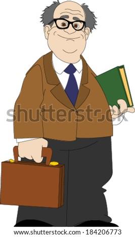 Professor Standing Holding Briefcase - stock vector
