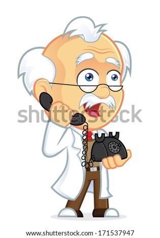 Professor Talking on the Phone - stock vector