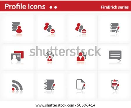 Profile icons set - Firebrick Series Set 2 - stock vector