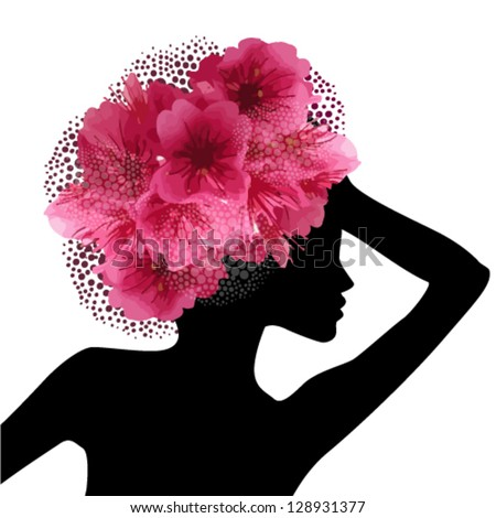 Profile of girl with cherry blossom. vector - stock vector