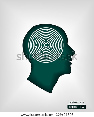 Profile of human head with maze puzzled concept pictograph - stock vector