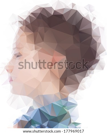 Profile of little boy in origami style - stock vector