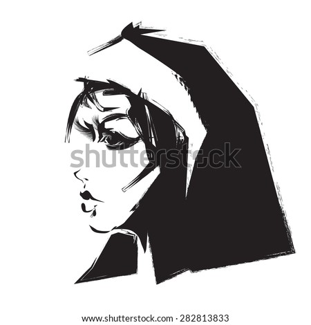 Profile of nun - stock vector