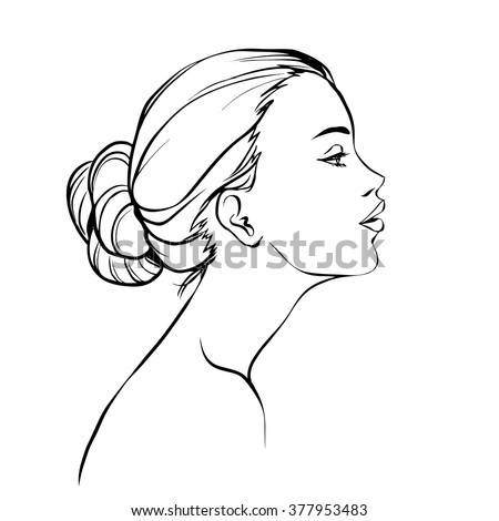 Profile of young beautiful woman with hair bun. Black and white hand drawing vector - stock vector