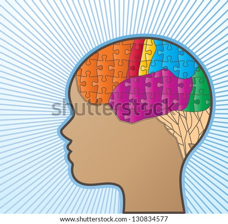 Profile or woman with puzzle brain - stock vector