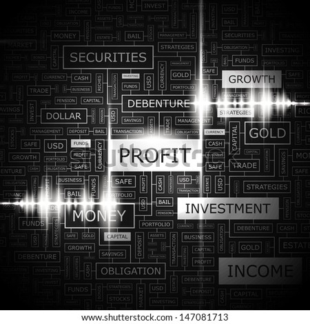 PROFIT. Background concept wordcloud illustration. Print concept word cloud. Graphic collage with related tags and terms. Vector illustration.  - stock vector