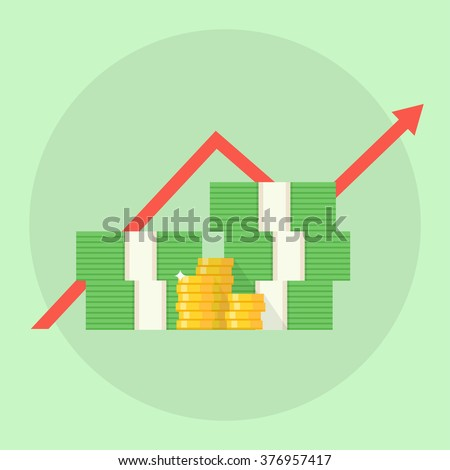 Profit concept. Financial growth. Profit vector illustration. A stack of money up arrow. Profit graph in flat style. Business success. Profit growth design. Profit margin image.  - stock vector
