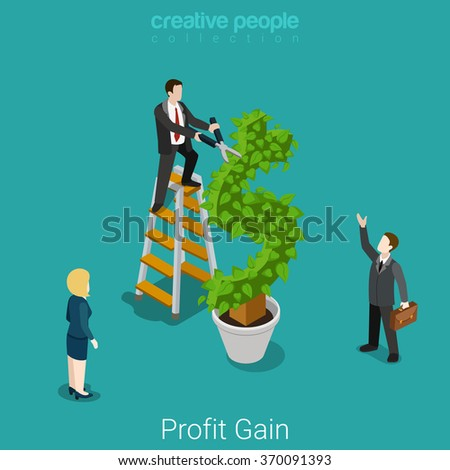 Profit gain successful investment harvest flat 3d isometry isometric business financial concept web vector illustration. Businessman cutting leaves on dollar plant tree. Creative people collection. - stock vector
