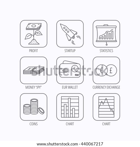 Profit investment, cash money and startup rocket icons. Wallet, currency exchange and euro linear signs. Chart, coins and statistics icons. Flat linear icons in squares on white background. Vector - stock vector