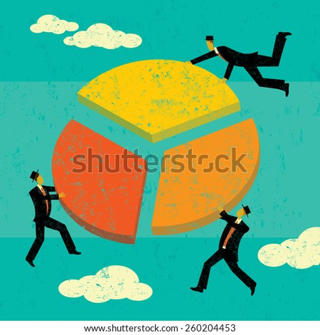 Profit Sharing Businessmen each taking their share of the profits. The men and background are on separate labeled layers. - stock vector