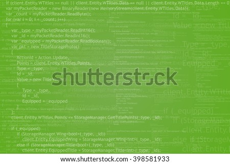 Program code background. Algorithm programming. White on green abstract background. Vector illustration. - stock vector
