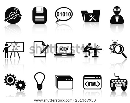 program development icons set - stock vector