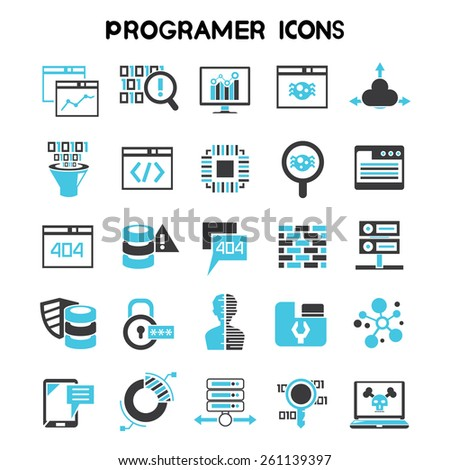 programmer icons set, software development coding icons - stock vector