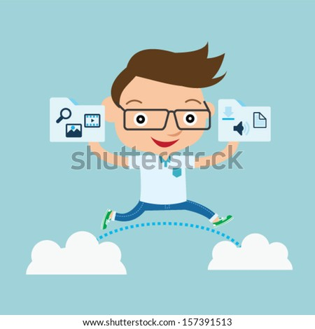 programmer share file clouds - stock vector
