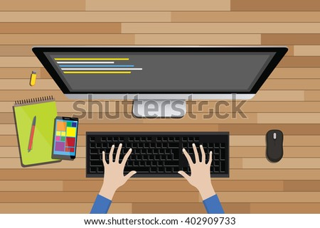 programmer workspace view from top with desktop computer and line code - stock vector