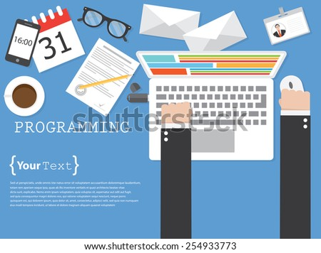 Programming and coding - stock vector
