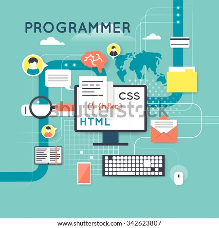 Programming and coding concept. Flat design vector illustration. - stock vector