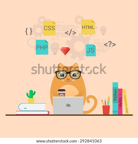 Programming and coding, website development - stock vector