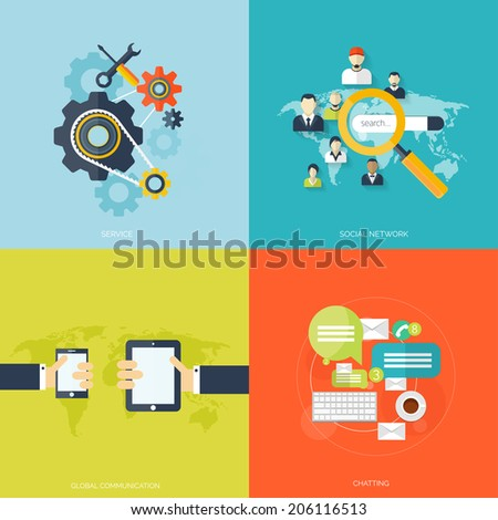 Programming flat cloud computing and social media background. Data storage network technology. Multimedia content and web sites hosting.Search engine optimization.Internet and global communication. - stock vector