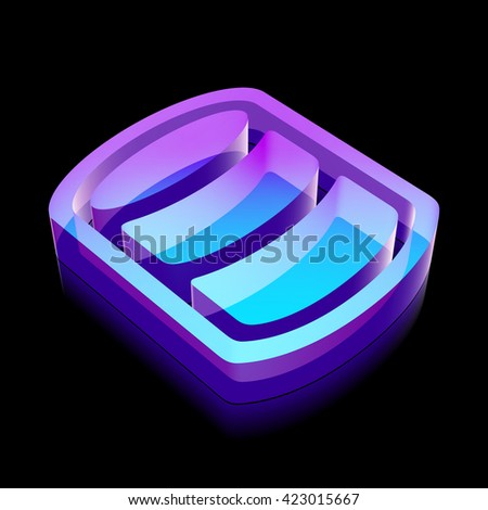 Programming icon: 3d neon glowing Database made of glass with reflection on Black background, EPS 10 vector illustration. - stock vector