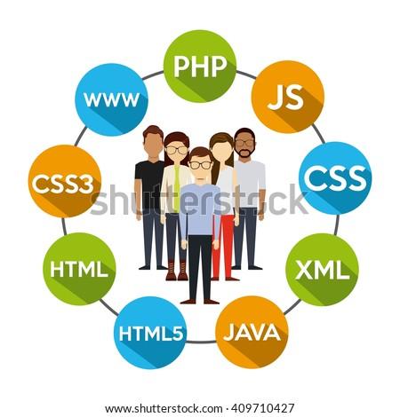 programming language design  - stock vector