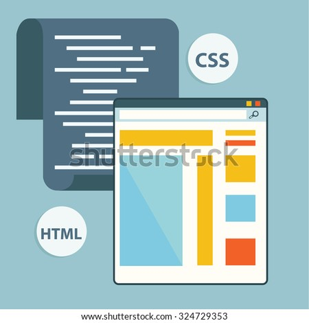 Programming or coding workflow for website coding and html programming of web application - stock vector