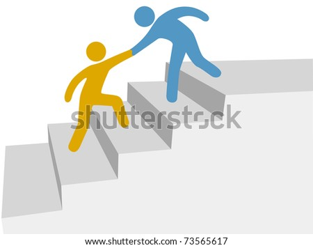 Progress and collaboration as friend helps friend climb up improvement stairway - stock vector