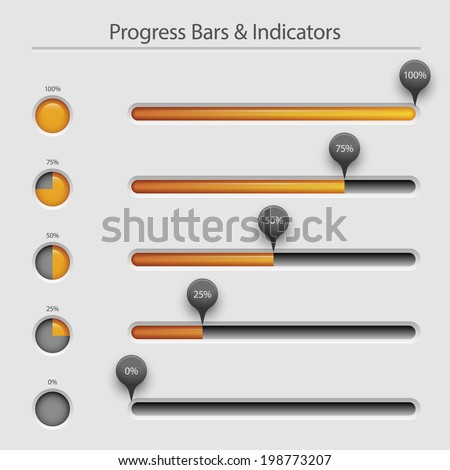 Progress bars and loaders, user interface design, eps10 vector - stock vector