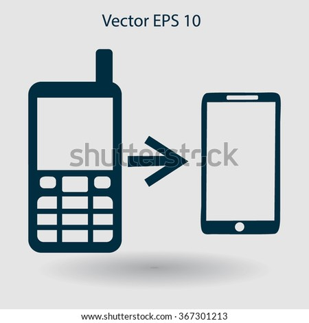 progress phones from the old to the modern vector - stock vector
