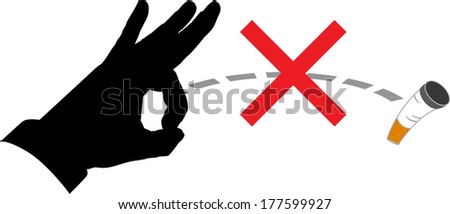 prohibited from throwing cigarette butts - stock vector