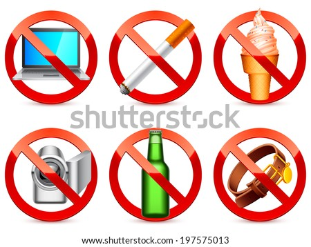 Prohibited signs. - stock vector