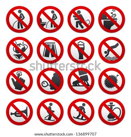 Prohibited signs, vector illustration - stock vector