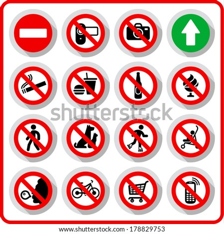 Prohibited symbols set signs on paper sticker, vector illustration - stock vector