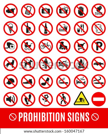 Prohibition set symbol - stock vector