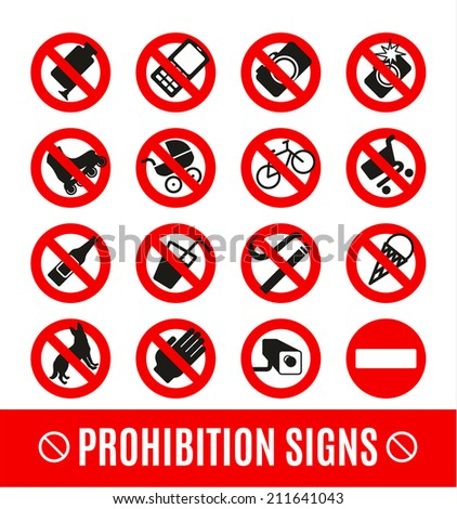 Prohibition set symbol - stock vector