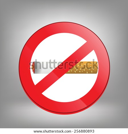 Prohibition sign on grey background. No smoking sign. Sign showing no smoking is allowed. No smoking mark. Smoking prohibited symbol isolated on grey background. - stock vector