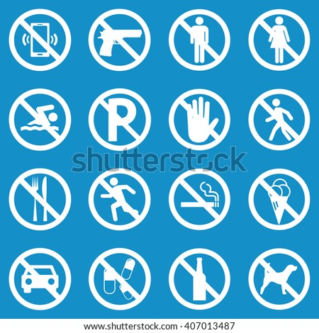 Prohibition sign set for call phone , pistol , entry , swimming , parking , walk , food , running , smoking , ice cream , car , pills , alcohol and dog . Vector Illustration - stock vector