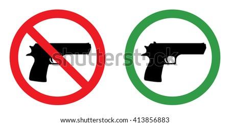Prohibition sign set for gun . Vector illustration - stock vector