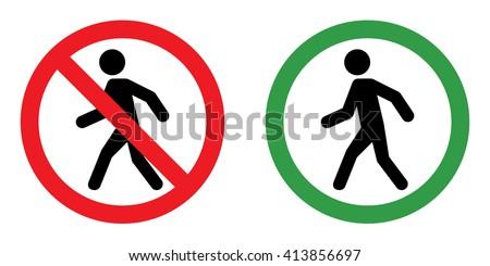 Prohibition sign set for walk . Vector illustration - stock vector
