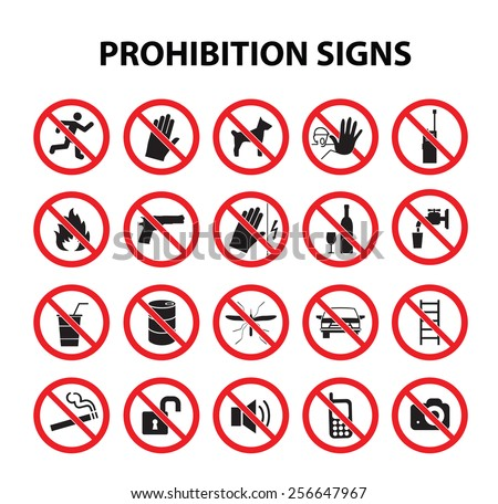 Prohibition signs set - stock vector