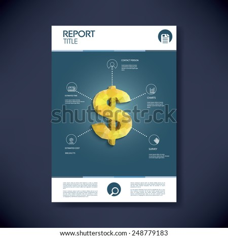 Project management infographics template concept with low polygonal golden dollar sign and icons. Space for your text. Eps10 vector illustration - stock vector
