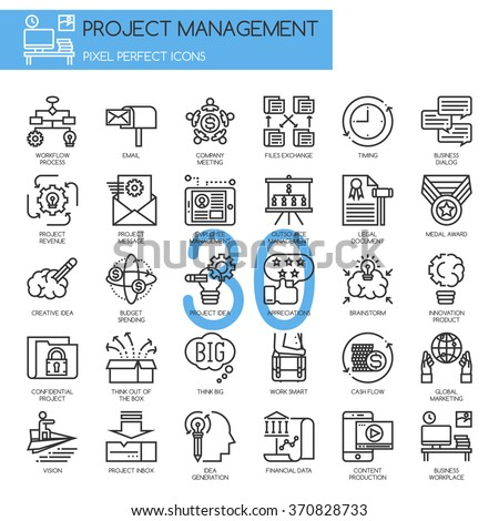 Project management , thin line icons set - stock vector