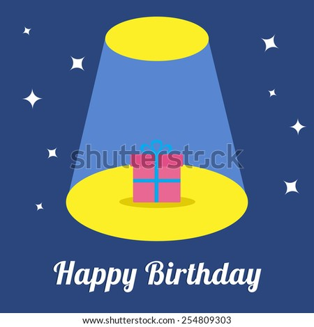 Projector light in the circus show Gift box with ribbon and bow with sparkles. Happy Birthday card.  Flat design Vector illustration - stock vector
