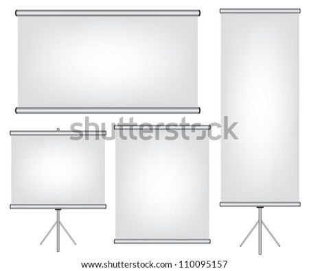 Projector screen and roll up banner illustration - stock vector