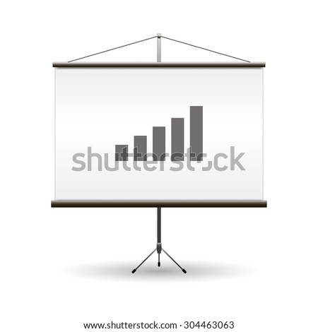 Projector screen black realistic vector illustration image - stock vector